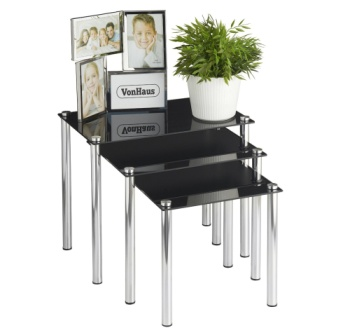 VonHaus 3 Nest Of Tables With Plant On Top