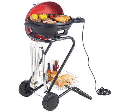 Plug-In Electric Indoor Grill Pan On 2 Wheels
