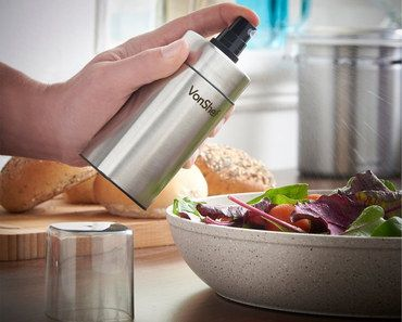 Steel Oil Vinegar Mist Spray Bottle With Plate Of Salad