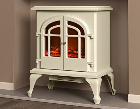 Electric Fire Log Burner Effect In Cream Colour