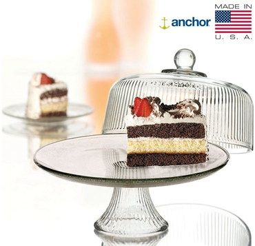 Circular Glass Cream Cake Stand In Ribbed Style