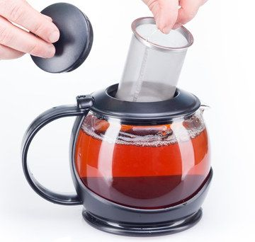 Insulated Glass Loose Leaf Teapot With Black Cover