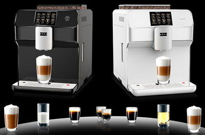 LCD Professional Coffee Machine In Black And White