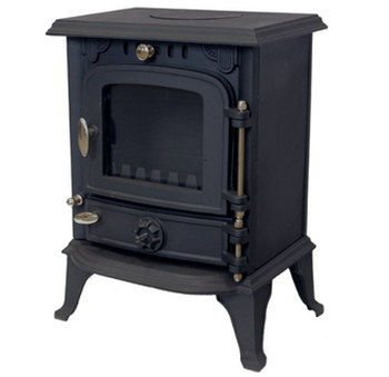 Heat-Proof 4Kw Wood Burning Stove In Black Iron