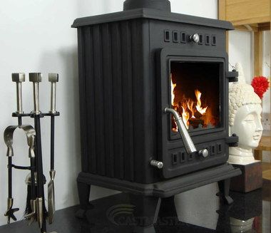 5 Kw Wood Burning Stove With Steel Door Handle