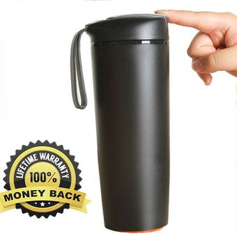 Water-Tight Travel Cup With Lid In All Black