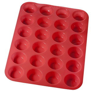 Silicone Mini Muffin Baking Tray In Red