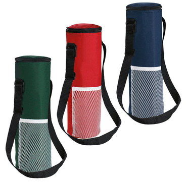 Single Bottle Wine Cooler Bag In Red, Black And Blue