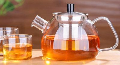 Borosilicate Contemporary Glass Teapot With Square Handle