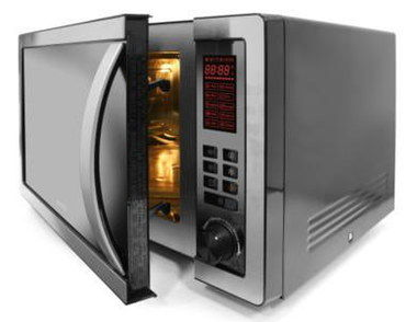 25L Black And Silver Microwave With Curve Handle