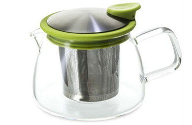 Bell Glass Teapot With Infuser Basket And Green Lid