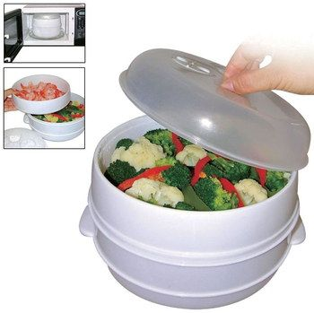 Efficient 2 Tier Microwavable Steamer In White