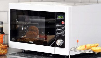 30L White Microwave Oven 900W With Chrome Dial