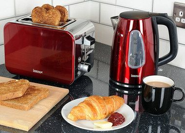 3 Kw Red Kettle And Toaster Set With Black Mug