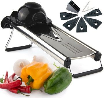 V-Blades mandoline Food Slicer In Black And Steel