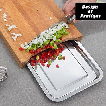 Slide Bamboo Chopping Board With Steel Tray