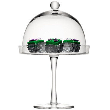 23 cm Glass Domed Cake Stand With Chocolate Fancies