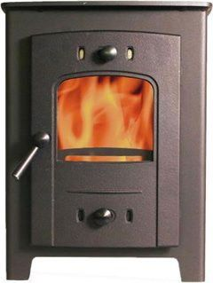 7Kw UK Wood Stove In Black With Steel Hand-Grip