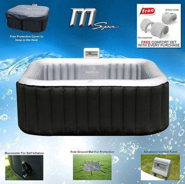 Power Air Jets 4 Seater Hot Tub With Black Exterior