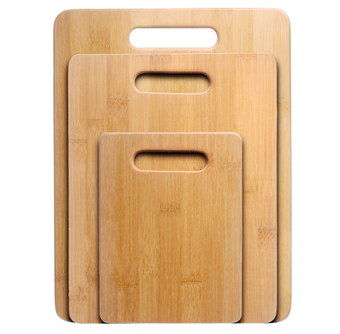 3 Piece Bamboo Chopping Board Set With Hole Grip