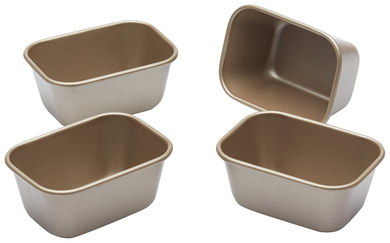 Rust Proof 4 Mini Loaf Tins In Carbon Steel