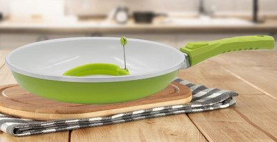 Skillet Frying Pan With Green Handle