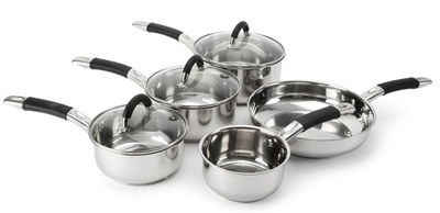 Induction Stainless Steel Saucepans Set With Black Handle