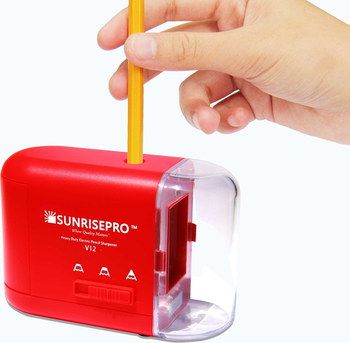 Sturdy Heavy Duty Battery Pencil Sharpener In Red