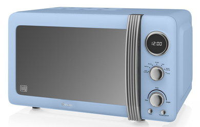 20 Litres Retro Blue Microwave Oven With Right Handle Grip