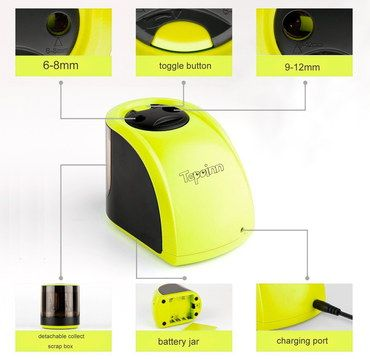 Fast Battery Operated Pencil Sharpener Yellow Finish