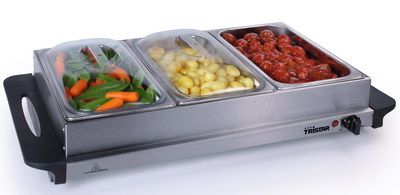 Easy Clean Large Table Top Food Warmer With 3 Pots