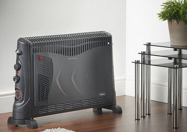Wide Feet Power Convector Heater In All Black