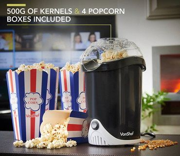 Hot Air Popcorn Maker Machine In Black