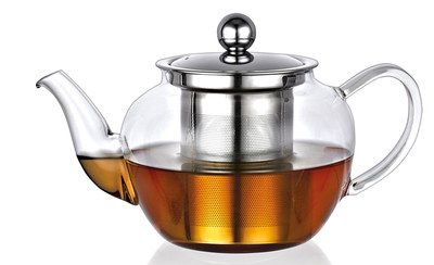 Large 1L Glass Infuser Teapot With Steel Lid