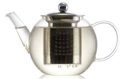 Rounded Glass Herbal Tea Pot With Steel Lid